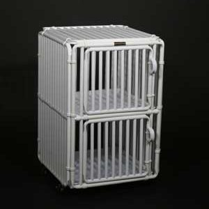 "Two Level Dog Cage Kennel 30"" High Panels Two Plex - total height 30"" + 3"" for caster wheels"