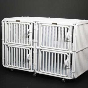 "Dog Cage Indoor Kennel 30"" High Panels Four Plex - total height 30"" + 3"" for caster wheels"