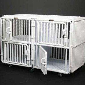 "Dog Crate Kennel 48"" High Panels Four Plex - total height 48"" + 3"" for caster wheels"